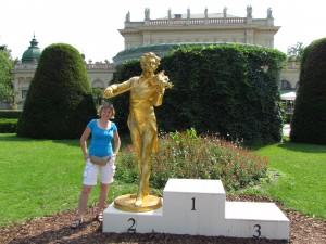 Złoty pomnik Johanna Straussa w Stadtpark w Wiedniu w Austrii