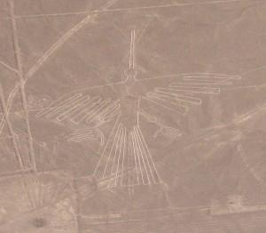 Geoglif kondor podczas lotu nad Płaskowyżem Nasca
