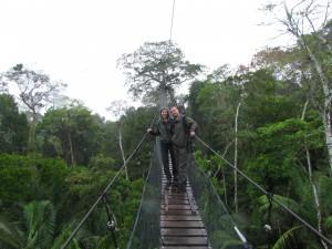 Canopy walk, czyli spacer mostkami zawieszonymi wśród koron drzew w dżungli