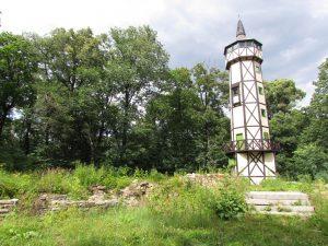Wieża widokowa na terenie ruin Zamku Gromnik w Krasiewicach