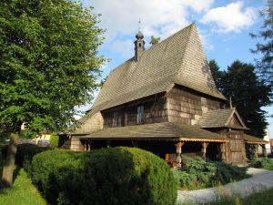 Modrzewiowy kościół drewniany w Gidlach