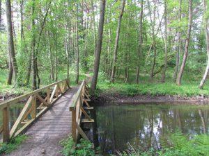 Mostek do grodziska , na któym stał zamek w Człopie