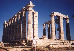 Świątyni Posejdona na Przylądku Sounion w Grecji