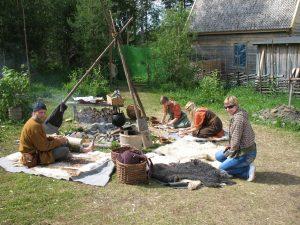 Obozowisko Wikingów w skansenie Jamtli w Östersund w Szwecji