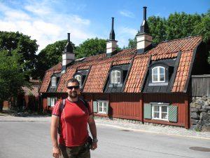 Drewniana zabudowa na ulicy Stigbergsgatan w Sztokholmie w Szwecji