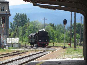 Zabytkowy pociąg wjeżdżający na dworzec w Świdnicy
