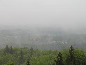 Widok z wieży widokowej na górze Wieżyca
